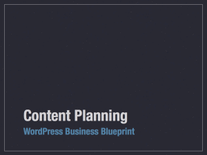Content Planning