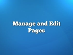 Manage and Edit WordPress Pages