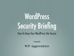 WordPress Security Briefing