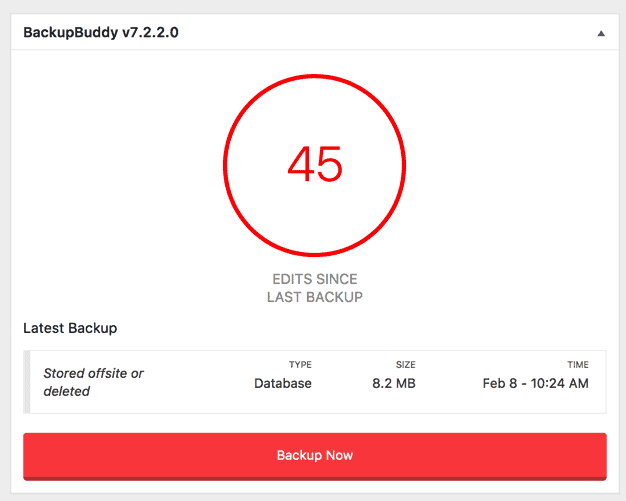 BackupBuddy Dashboard Widget
