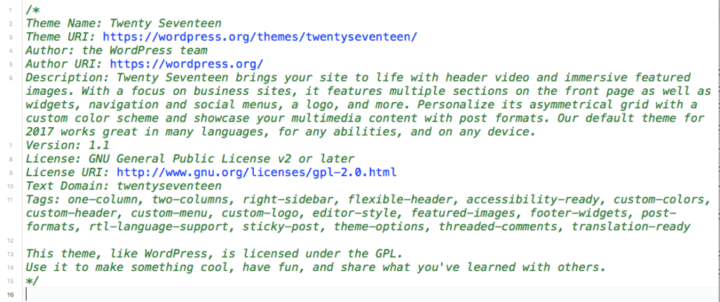 The parent theme's CSS file
