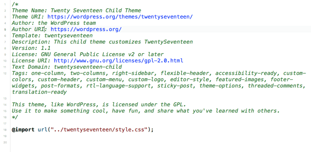 Modified CSS header for child theme